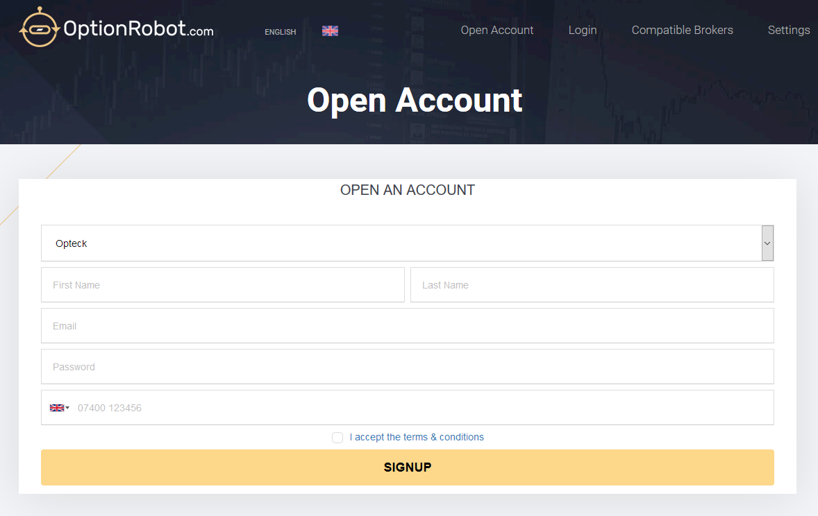 OptionRobot account registration