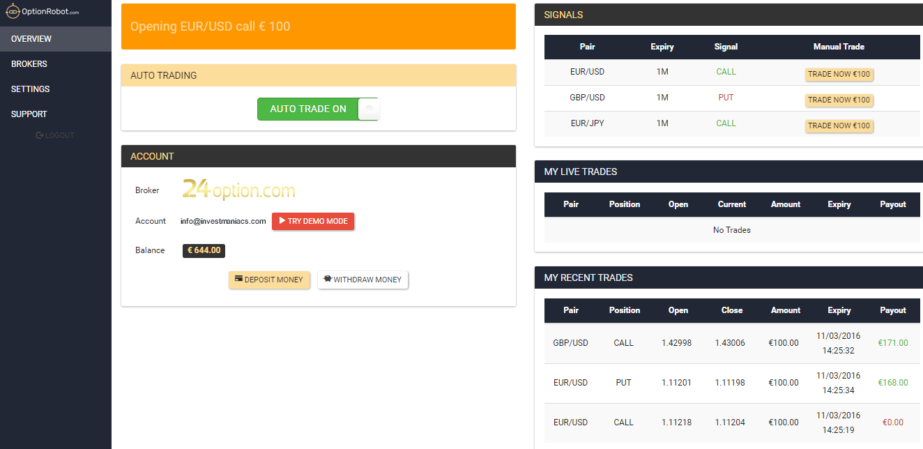 OptionRobot Trading Interface